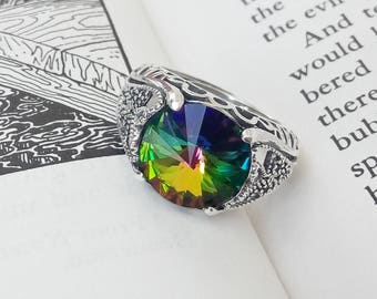 Gothic Mens Ring / Goth Ring / Sterling Silver Ring / Crystal Ring / Unisex Ring / Adjustable Ring / Multi Color Ring / Gothic Jewelry