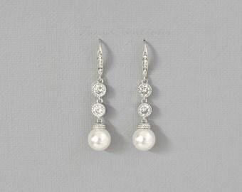Pearl Bridal Earrings Pearl Wedding Earrings Simple Bridesmaid Earrings Classic Swarovski White Ivory Pearl Earrings Wedding Jewelry