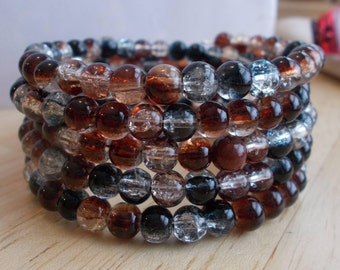 5 Row Memory Wire Cuff Bracelet made with Round Glass Beads in Shades or Brown, Black and Clear