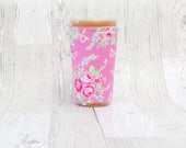 Vintage Floral Iced Coffee Cozy, Coffee Cuff, Coffee Cozy, Cup Sleeve, Pink Cup Cozy