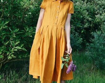 Mustard Linen Dress - Shirt Linen Dress - Short Sleeved Linen Dress - Handmade by OFFON
