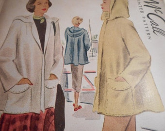 Vintage 1940's McCall 7169 Beach Coat Sewing Pattern Size 18 Bust 38