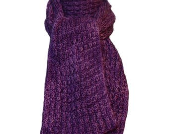 Hand Knit Scarf - Purple Iris Cashmere Silk Cable Rib