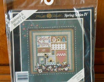 Garden Thyme Unused Kit Counted Cross Stitch Embroidery Mill Hill Spring Series IV, Buttoned and Beaded Kit MHCB79 New in Pkg 1996 Stitchery
