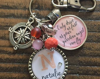 SWEET 16 GIFT Only drive as fast as your guardian angel can fly name new driver gift Keychain necklace watercolor Personalized birthday gift