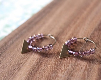 czech glass vintage brass triangle hoop earrings - plum