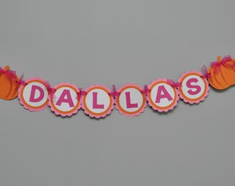 Girly Pumpkin Name Banner Pumpkin Patch Birthday Party