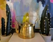 Vintage French Brass Teapot - Large Tea Kettle With Gooseneck Spout - Vintage Tea Serveware