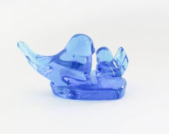 Glass Bluebird of Happiness Figurine Paperweight Leo Ward 1994
