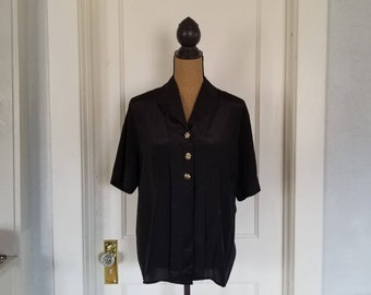 Vintage 1980's - 1990's Sellecca Black Short Sleeve Blouse