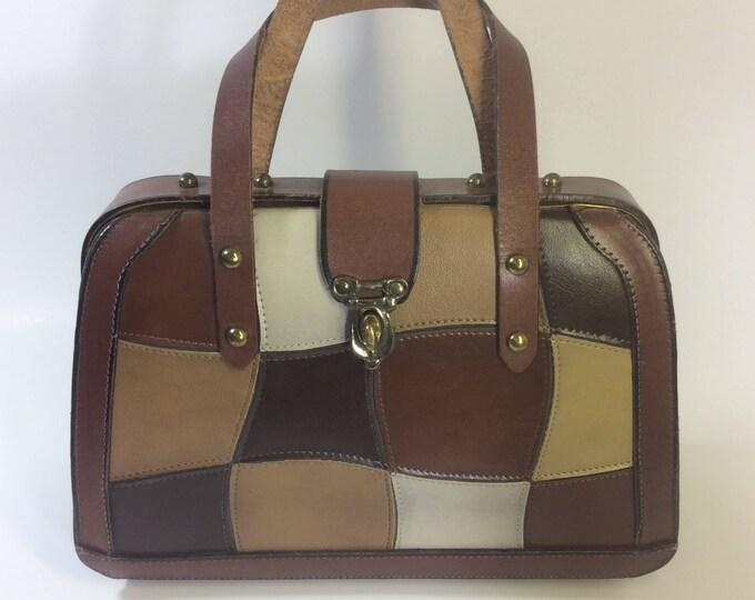 Burlington Purse, beautiful vintage patchwork Burlington handbag, super looking vintage Burlington purse, vintage closet addition
