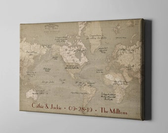 Travel guestbook etsy sale 50 off canvas guest book vintage world map guest book rustic travel gumiabroncs Choice Image