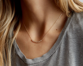 Delicate Gemstone Necklace • Simple Birthstone Necklace • Gold, Rose Gold, Sterling Silver • Dainty Gemstone Bar Necklace Gift Idea • LN603