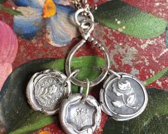 OUTLANDER JEWELRY / Forget Me Not / Fine Silver Charm / Pendant
