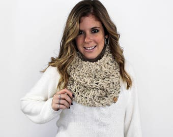 Knit Scarf Chunky Knitted Cowl Oatmeal- Calvert Cowl