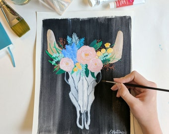 Cowskull Print - 8x10 Gouache Fine Art Print