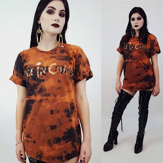 "Vintage Black + Orange ""Alice in Chains"" Tie Dye Bleached Tee Medium -Womens Bleach Dyed Streetwear Crew Neck Long Tee -Short Sleeve Goth"