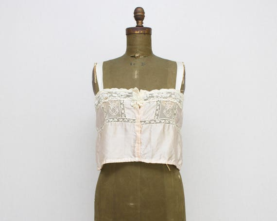 Vintage 1920s Pink Silk and Lace Camisole - Size Medium
