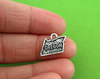5 Silver Oregon State Charms (CH080-5)