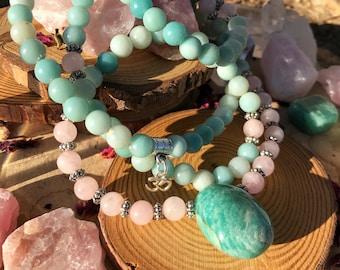 AMAZONITE & ROSE QUARTZ Meditation Mala | 108 MalaBeads | Pink Crystal Healing Yoga Mala | Heart Chakra Prayer Beads | Om Yoga Necklace