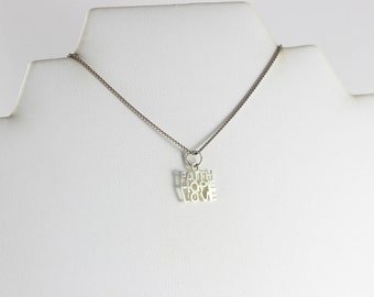 Sterling Silver Hope Faith Love Heart Pendant