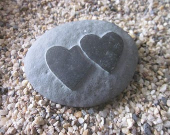 Double Heart Water-Washed Beach Stone