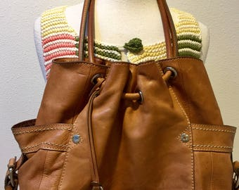 Vintage Fossil Caramel Leather Hand Bag / Shoulder Bag