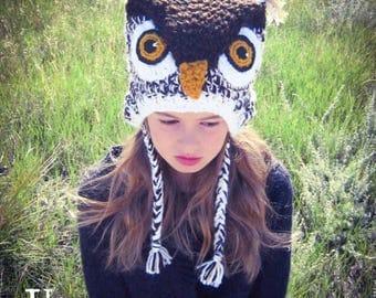 White & Brown Hoot Owl Costume Crochet Hat