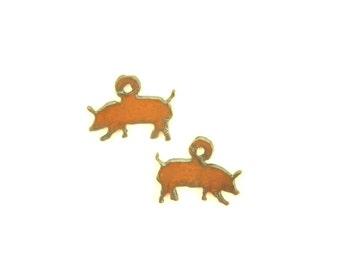 Pig Rusty Metal Earrings (Sold As A Pair)