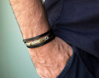 Men's Bracelet - Men's leather Bracelet - Men's Jewelry - Men's Gift - Boyfriend Gift - Husband Gift - Gift For Him - Men Leather Jewelry