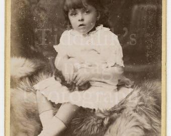CDV Carte de Visite Photo Victorian Cute Young Girl on Fur Rug Prop Portrait by Friese Greene of Bath England - Antique Photograph