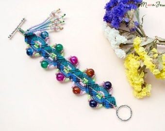 Colorful agate bracelet, macrame cuff, micro-macrame, beadwork, boho chic, gypsy queen, beaded, with tassel, chunky, teal blue green pink