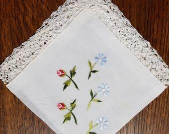 Vintage Embroidered Linen Handkerchief  #30