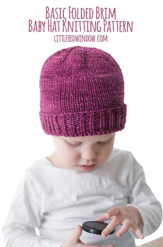Easy Folded Brim Hat KNITTING PATTERN / Brimmed Hat Pattern /