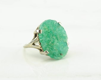 Green Carved Floral Sterling Ring Silver Jadeite Peking Glass Chinese