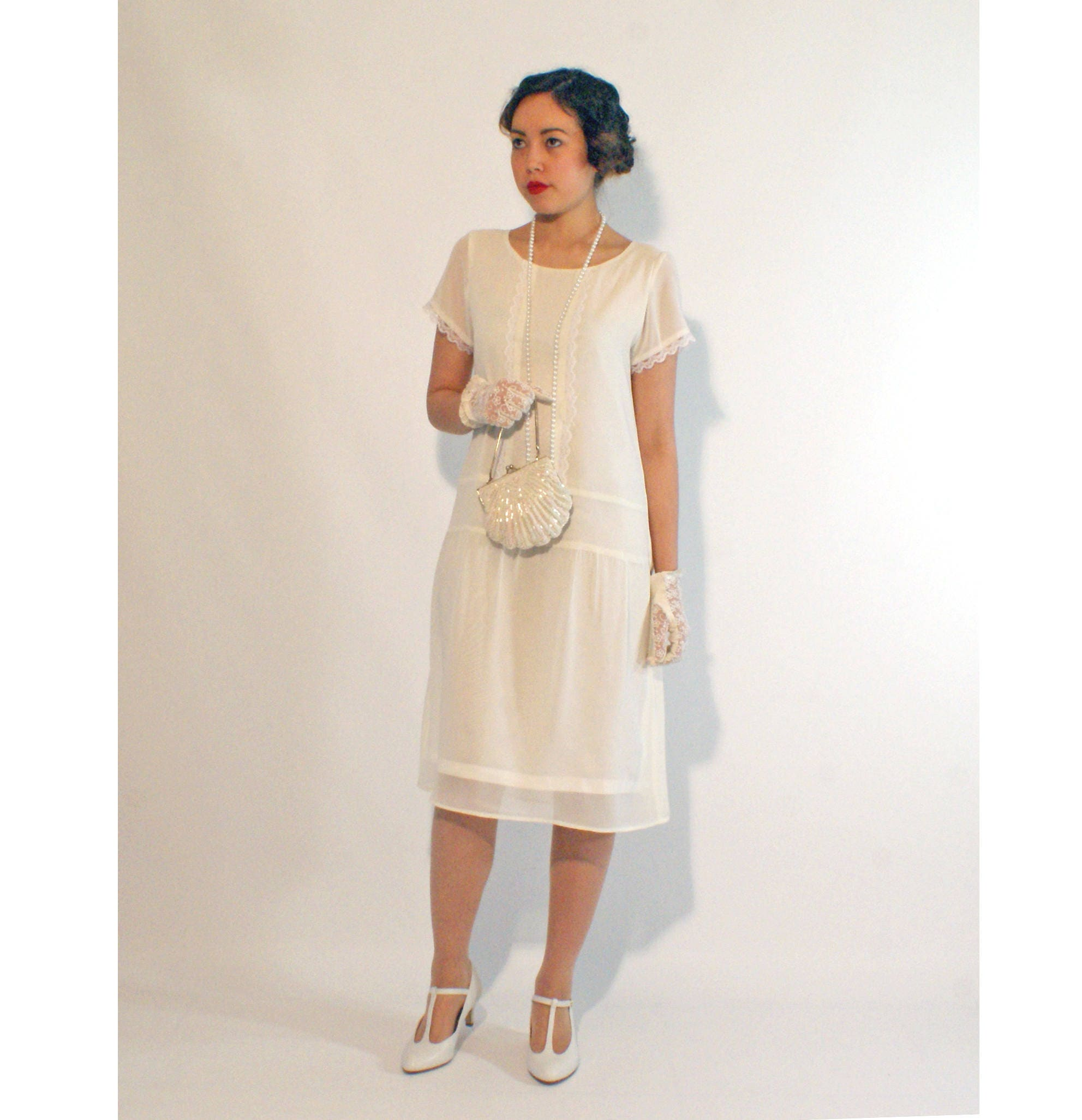 Ivory flapper dress with short sleeves 1920s flapper dress zoom ombrellifo Images
