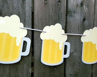 Beer Mug Banner, Beer Mug Garland, Bachelor Party Banner, Sports Party Banner, 21st Birthday Banner, Father's Day Banner, Man Cave