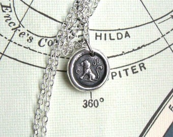Leo wax seal necklace, Mens necklace, For her, Leo necklace, Lion necklace, Leo gift, Mens pendant, Zodiac necklace, Fine + Sterling silver