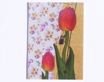 Pink, Tulips art print blank postcard. Floral print from watercolour painting. Blank occasion card. Just because card. Glossy finish