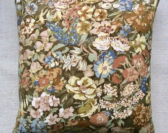 "Vintage Liberty Of London Linen Fabric Cushion ""Cottage Garden"" 40cm x 40cm"