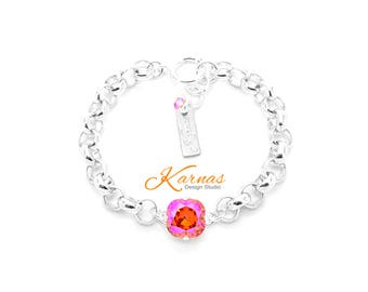 PADPARADSCHA GLACIER CHAIN 12mm Single Stone Bracelet Made With Swarovski Crystal  *Pick Your Finish *Karnas Design Studio *Free Shipping*