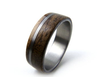 Walnut Wood Ring, Titanium Wood Ring, Bentwood Ring, Wood Wedding Ring, Engagement Ring, Wood Wedding Band, Grand Junction Guy