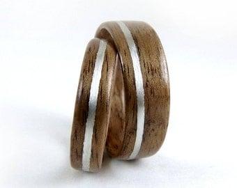Wood Ring Set, Silver Inlay, Walnut Rings, Bentwood Ring set, Bent wood Rings, Wood Wedding Rings, Wood Engagement Rings, Wooden Ring Set