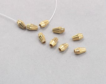 30Pcs, 6x9mm Raw Brass Bicone Beads , Hole Size 2.5mm , SJP-A463