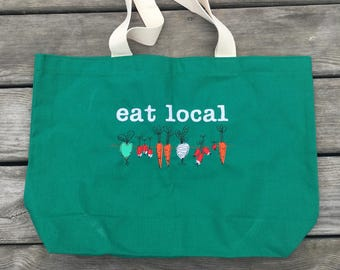 Eat Local Embroidered Tote, Farmer's Market Bag, Local Food Tote, Gifts for Her, Gifts for Farmers