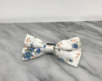 Blue and White Floral Dog Bowtie for Wedding Dog Outfit Pet Wedding Fancy Bow Tie  Dog Collar