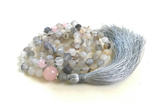 Wind Shadow Agate Mala Beads, Rose Quartz Mala For Inner Peace, 108 Bead Mala Necklace, Hand Knotted Silk Tassel Mala, Yoga Meditation Mala