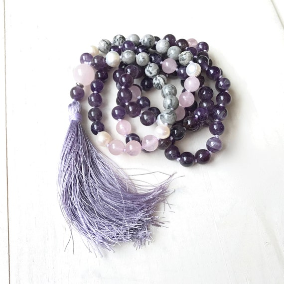 Motivation Mala Bead Necklace, Amethyst Mala Beads, Knotted Mala Necklace, Mala Beads 108, Freshwater Pearl And Rose Quartz Mala Necklace