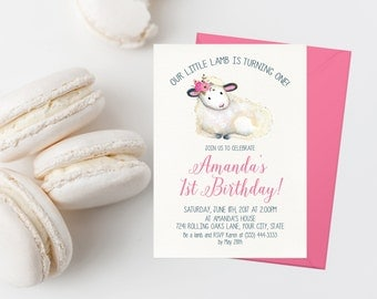 Little Lamb Birthday Invitation Printable Lamb Invitation Sheep Birthday Invites Girl Birthday Party Is Turning One Turning Pink Flowers
