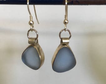 Light Blue Sea Glass Earings